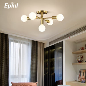 2020 New Modern Ceiling Lamp Copper Design Restaurant Bedroom Living Room Creative LED Lighting Christmas Home Decor Fixtures
