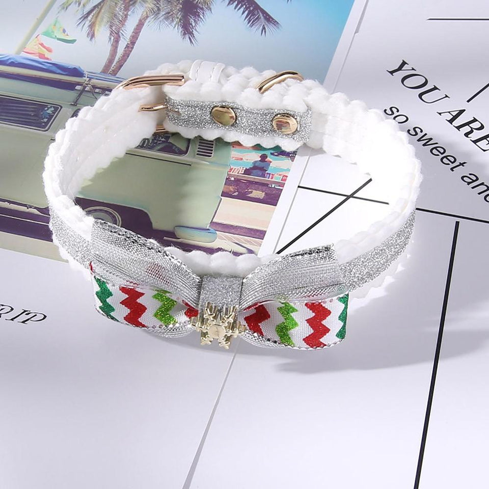 Christmas Pet Collar White Snowflake Pet Dog Collar