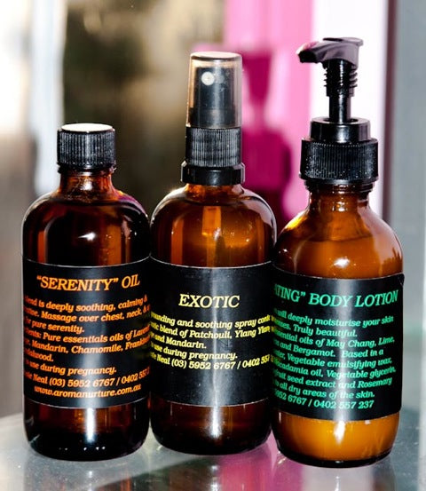 This lush combination will excite and soothe your senses! Serenity massage oil to calm, Exotic spray to enhance sensuality and Rejuvenate Body Lotion to moisturise and enliven your mood.