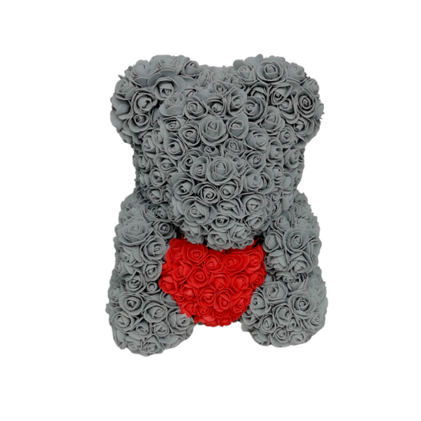 Grey w/ Red Heart Rose Bear - Royal Rose