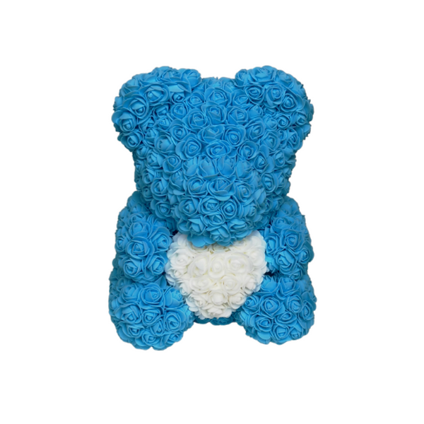 Blue w/ White Heart Rose Bear - Royal Rose