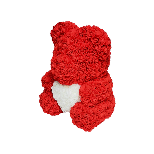 Red w/ White heart Rose Bear - JTDESIGNSCO