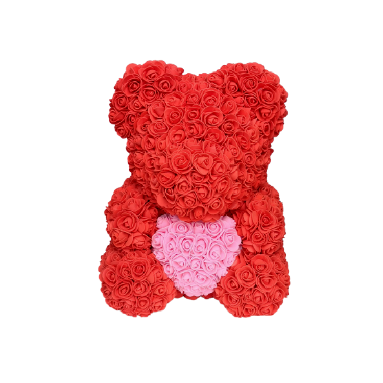 Red w/ Pink Heart Rose Bear - Royal Rose