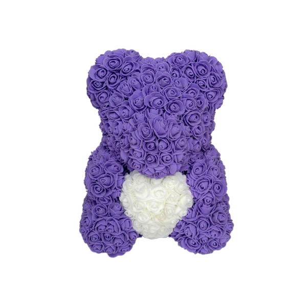 Purple w/ White Heart Rose Bear - Royal Rose