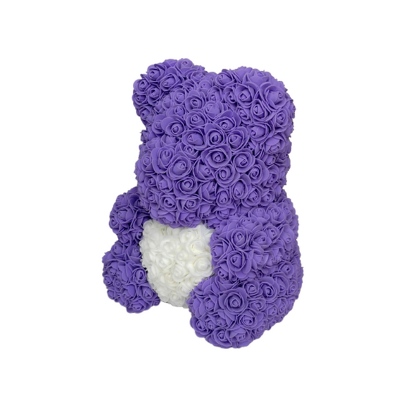 Purple w/ White Heart Rose Bear - JTDESIGNSCO