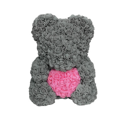 Grey w/ Pink Heart Rose Bear - Royal Rose