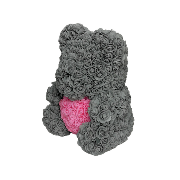 Grey w/ Pink Heart Rose Bear - JTDESIGNSCO