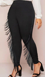 Black Fringe Leggings