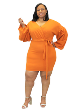 Load image into Gallery viewer, Orange Pleated Sleeve Dress