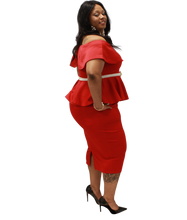 Load image into Gallery viewer, Red Peplum Set