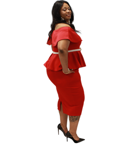 Red Peplum Set