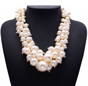 Open image in slideshow, Large Layered Pearl Necklace