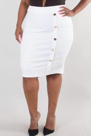 Open image in slideshow, White Gold Buttoned Skirt