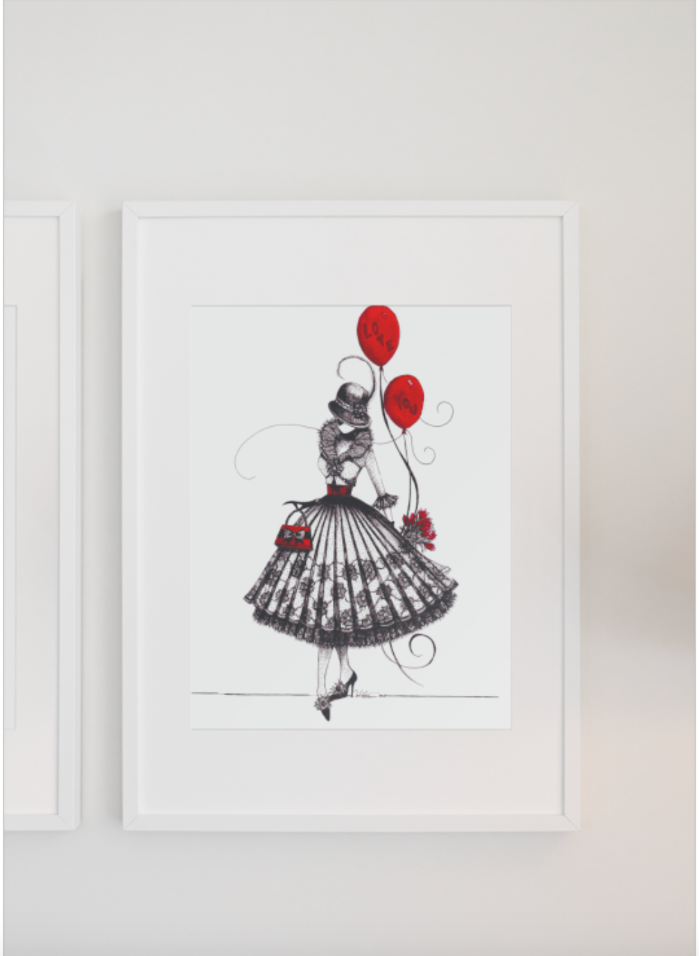 Fancy dressed lady holding red ballon. Wall art for girls room decor