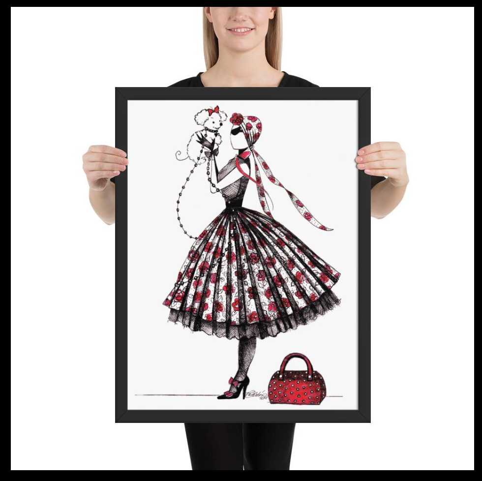Chic style wall decor, sassy lady with dog puddle framed print