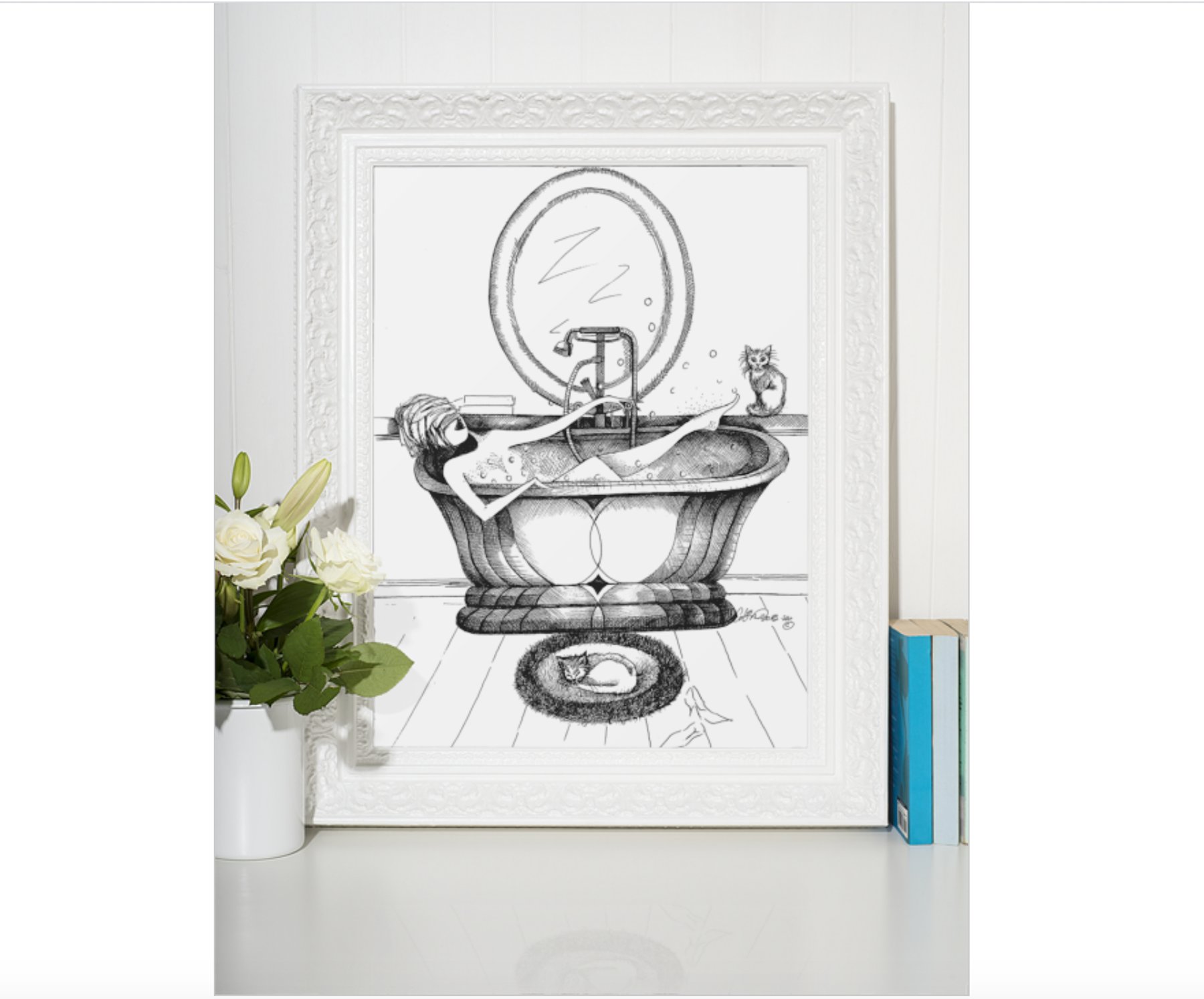 Playful Powder Room Decor, Vintage Bath illustration, Art Print With Woman and Cats