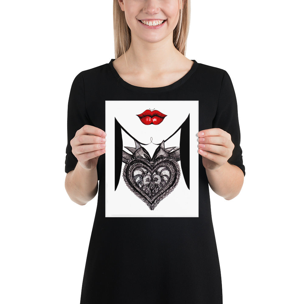 Wall art graphic with red lips black and white