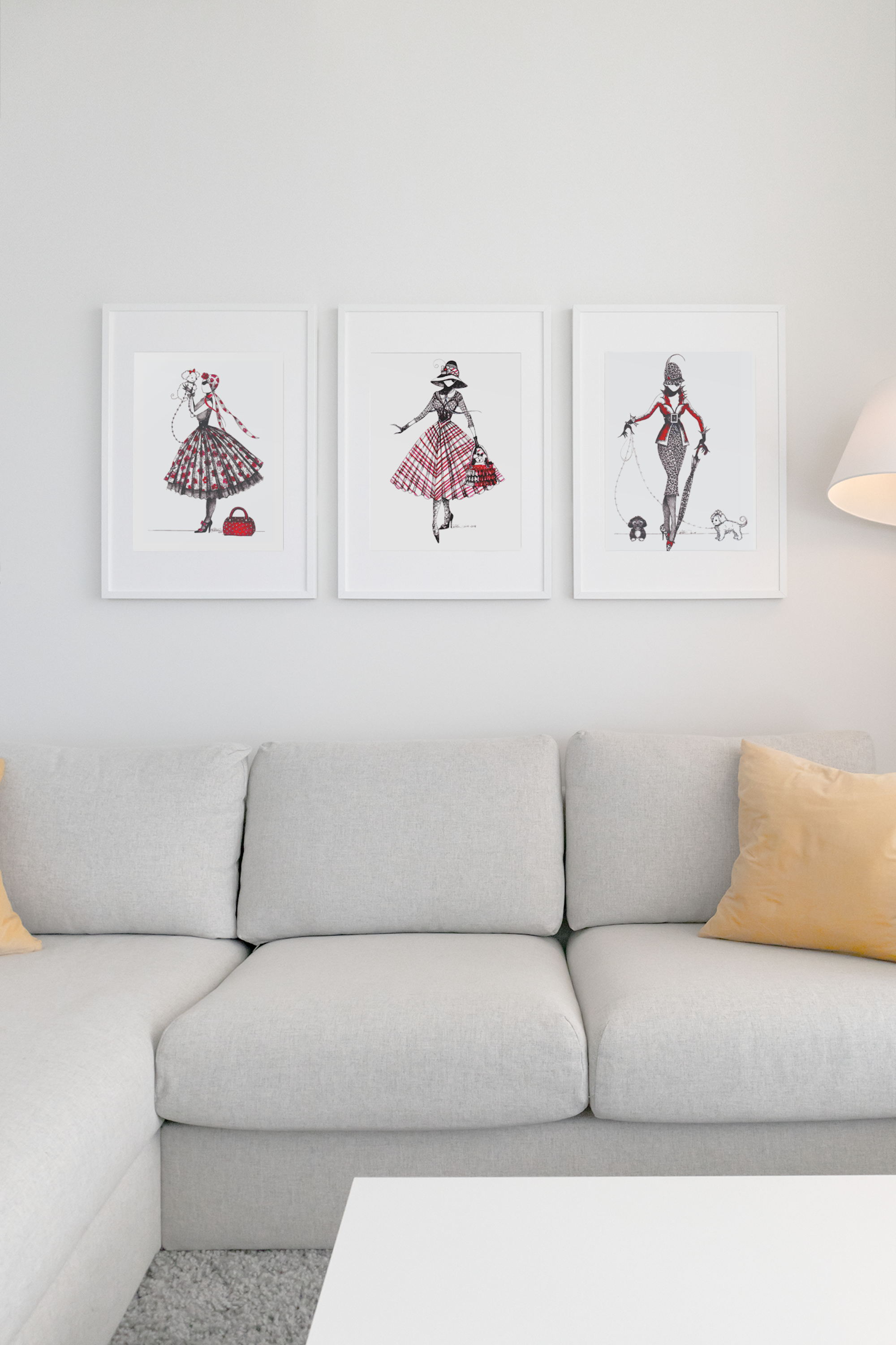 Chic Style Wall Decor. Sassy Lady With Puddle Dog Art Print