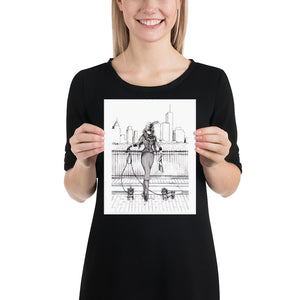 Abrir la imagen en la presentación de diapositivas, Sophisticated Lady With Yorkie dogs, New York City Skyline Art Print