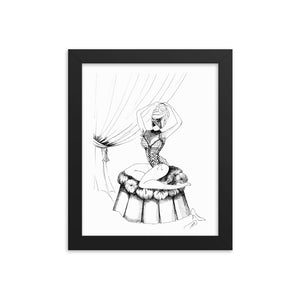 Open image in slideshow, Pin up girl illustration, framed artwork, wall art decor