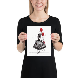Open image in slideshow, Fancy dressed lady holding red ballon. Wall art for girls room decor