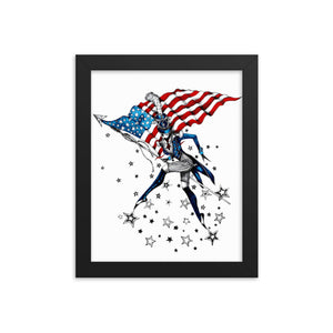 Open image in slideshow, Graphic illustration lady with flag. Red, white and blue .