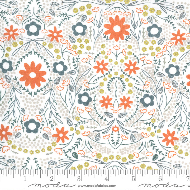 Orange, blue, and yellow floral design on white