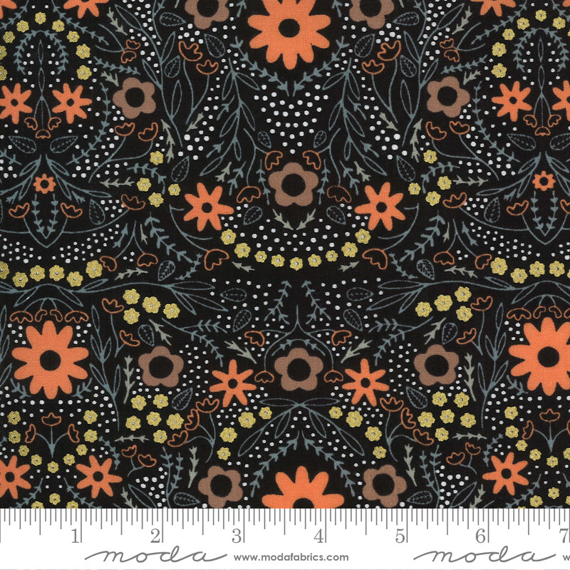 Orange, yellow, and stone blue floral design on black
