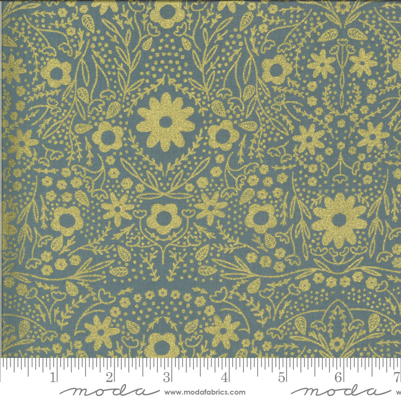 Gold Metallic floral design on stone blue