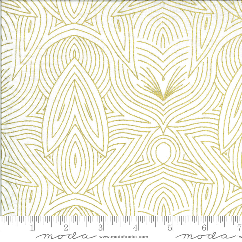 Metallic Gold line design on white