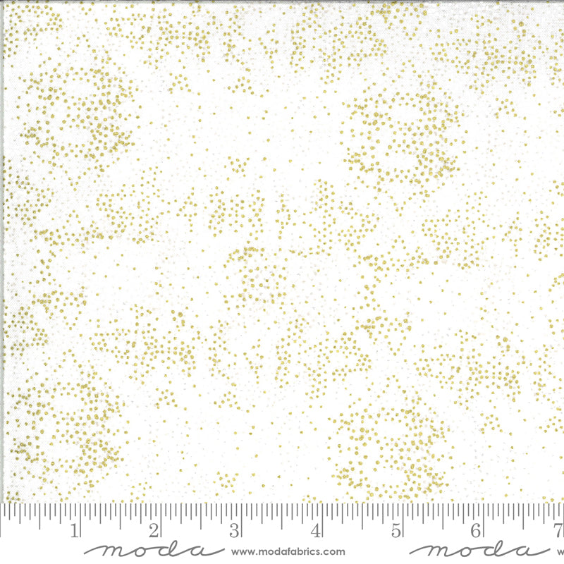 White with gold and white splattered dots