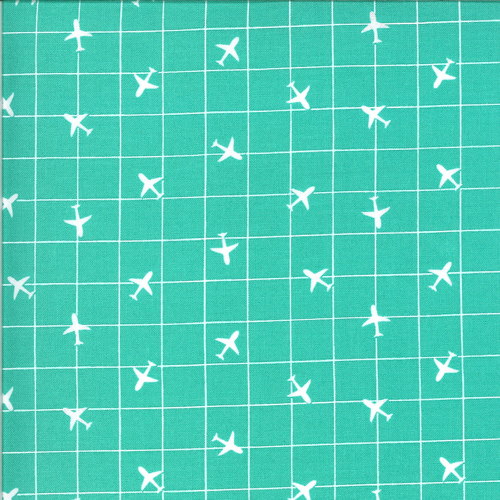 A grid with airplanes on blue
