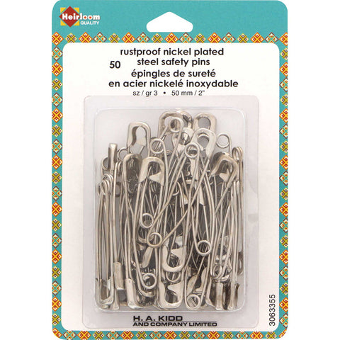 "Curved Safety Pins - 50mm (2"") Size 3 - 50pcs"