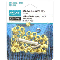 "Eyelets with Tool Gold - 4mm - 3⁄16"" - 36 pcs Grommets"