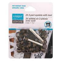 "2-Part Eyelets with Tool Antique Gold 4mm (1⁄8"") - 25 pcs  Grommets"
