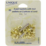 "2-Part Eyelets with Tool Gold 4mm (1⁄8"") - 25 pcs  Grommets"