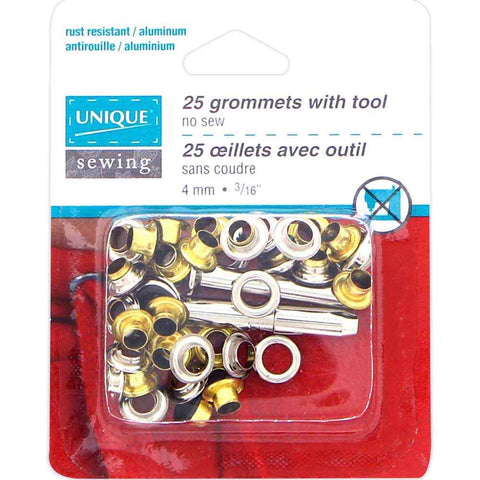 "2 Part No-Sew Eyelets with Tool - 4mm (1⁄8"") - Black - 25 pcs.  Grommets"