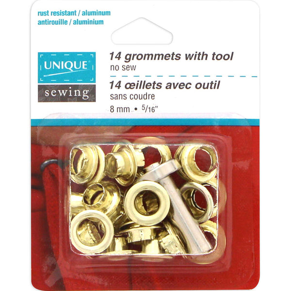 Grommets Gold with Tool - 8mm (5⁄16″) - 14 pcs