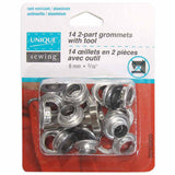 Grommets Gunmetal with Tool - 8mm (5⁄16″) - 14 pcs