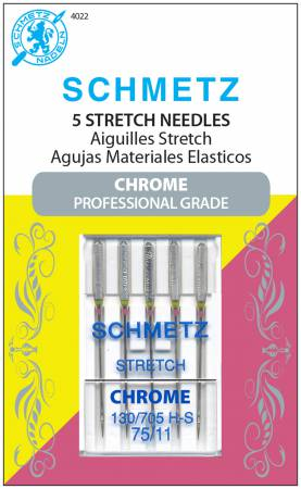 Chrome Stretch Schmetz Needle 5 ct, Size 75/11