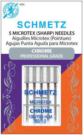 Chrome Microtex Schmetz Needle 5 ct, Size 80/12