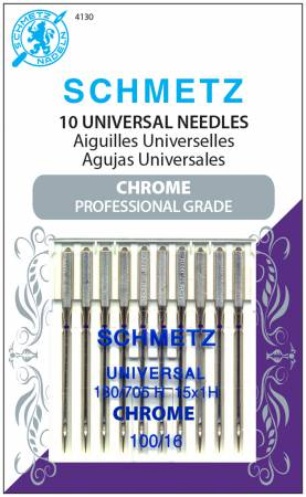 Chrome Universal Schmetz Needle 10 ct, Size 100/16