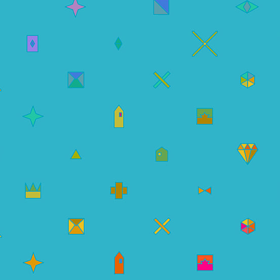Teal coloured background with objects, such as diamonds, stars, and crowns