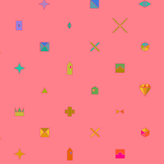 Pink coloured background with objects like crowns, stars, and diamonds