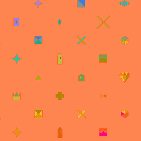 Orange background with objects such as stars, crowns, and diamonds