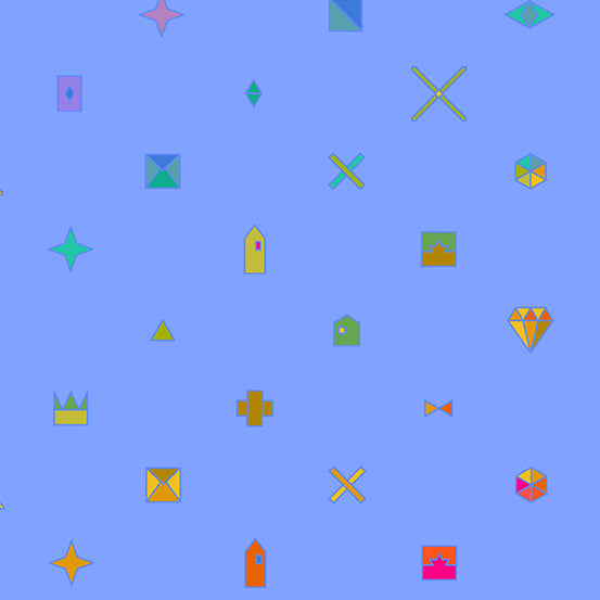 Blue/ Purple background with objects including crowns, diamonds, and stars