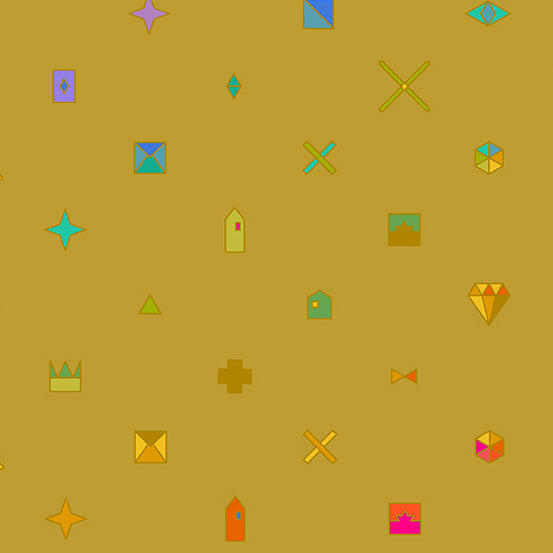 Gold coloured background with objects, such as diamonds, crowns, and stars