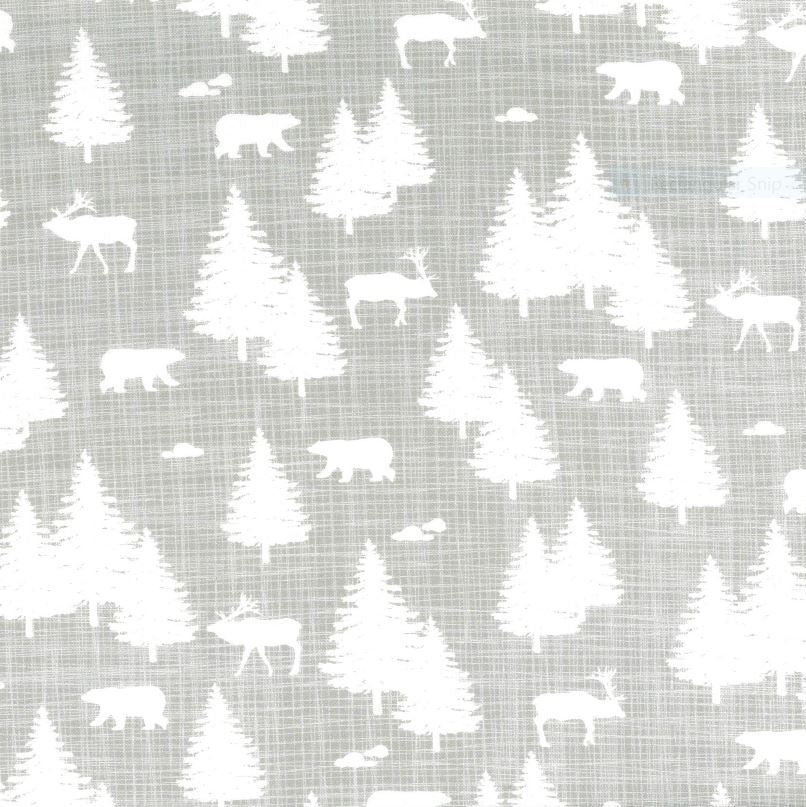 White Spruce trees, bears, and caribou on a grey background
