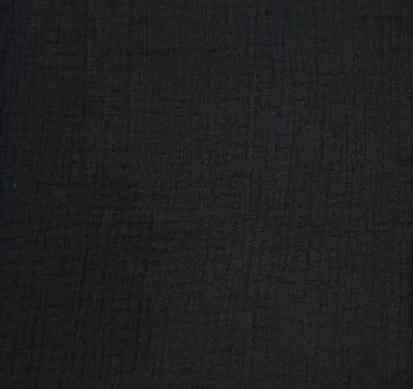 Black - Double Gauze - 1/2 metre