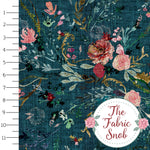 Fable Floral Teal - Esther Fallon Lau Round 2 - 1/2 metre